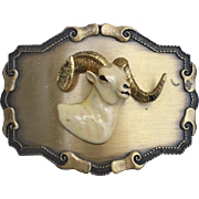 Vintage Raintree 1977 Belt Buckle, Enameled Ram Head With Horns