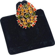 Vintage Fall Colors Rhinestone Ring