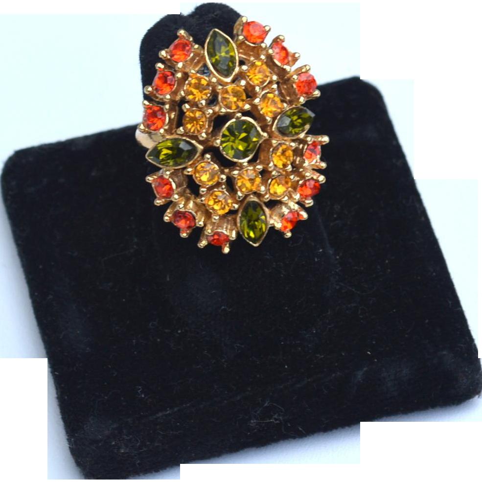 Vintage Fall Colors Rhinestone Ring