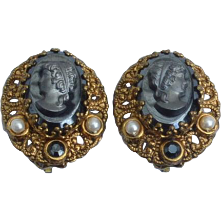 Vintage Signed WEST GERMANY Hematite Cameo Filigree Clip Earrings
