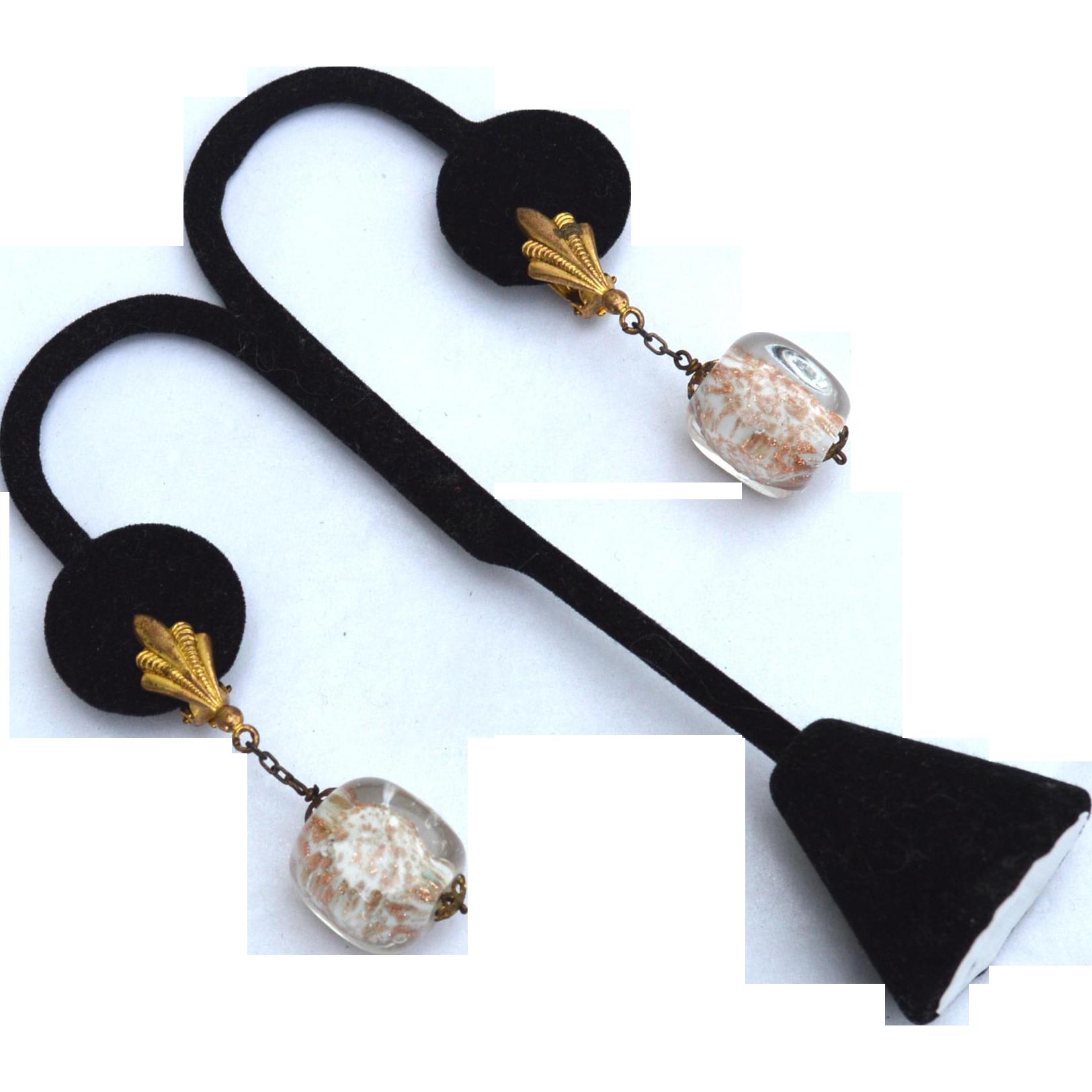 Early Dangling Gold Fleck Glass Bead Clip Earrings