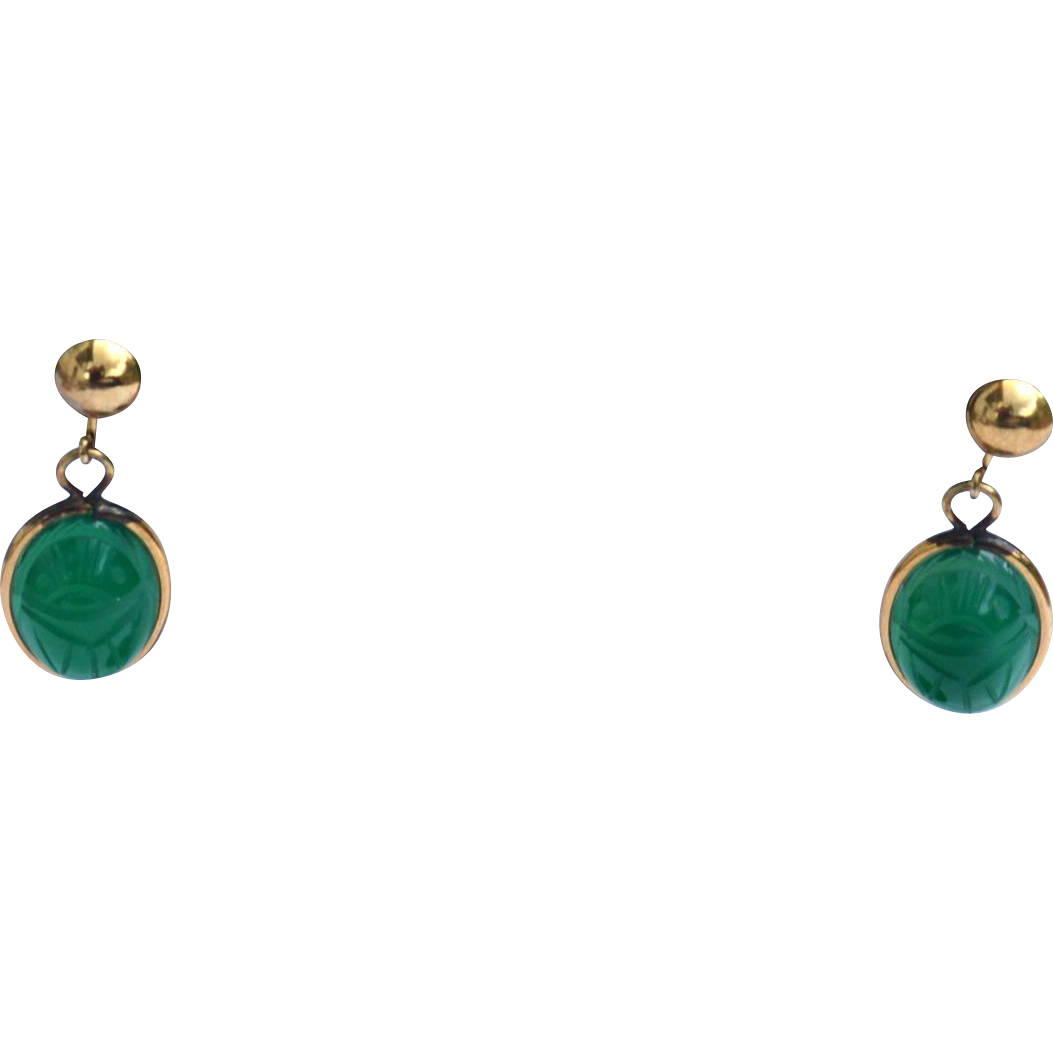Vintage Hallmarked AMCO 12K Gold Filled Green Scarab Stone Earrings