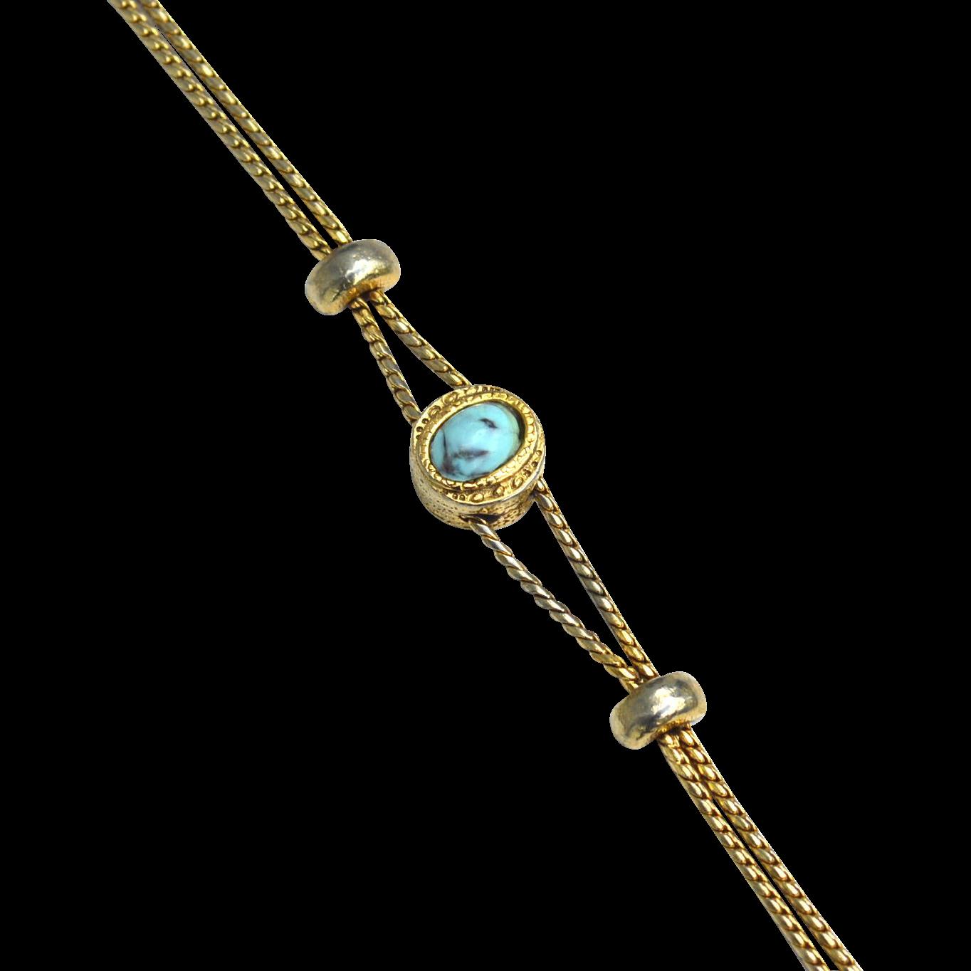 Vintage Signed GOLDETTE Faux Turquoise Victorian Revival Slide Bracelet