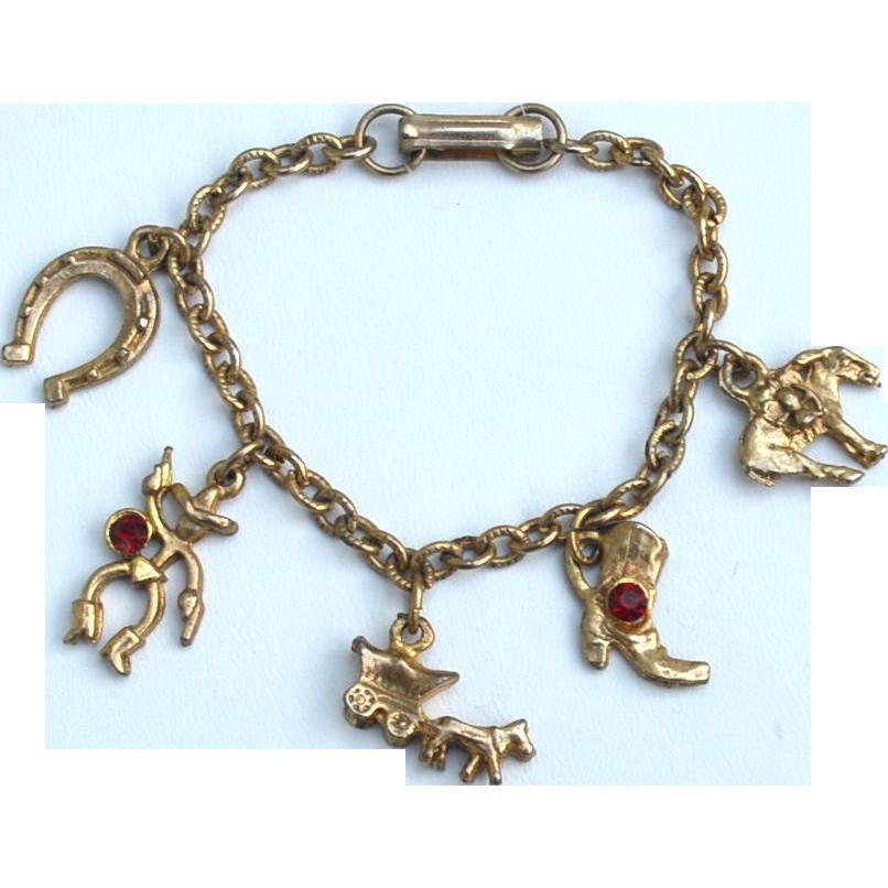 Early Vintage Western Themed Charm Bracelet