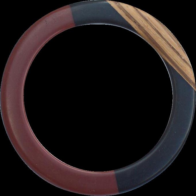Vintage Chocolate, Black and Wood Bangle Bracelet