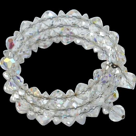 Vintage Aurora Borealis Crystal Memory Wire Bracelet