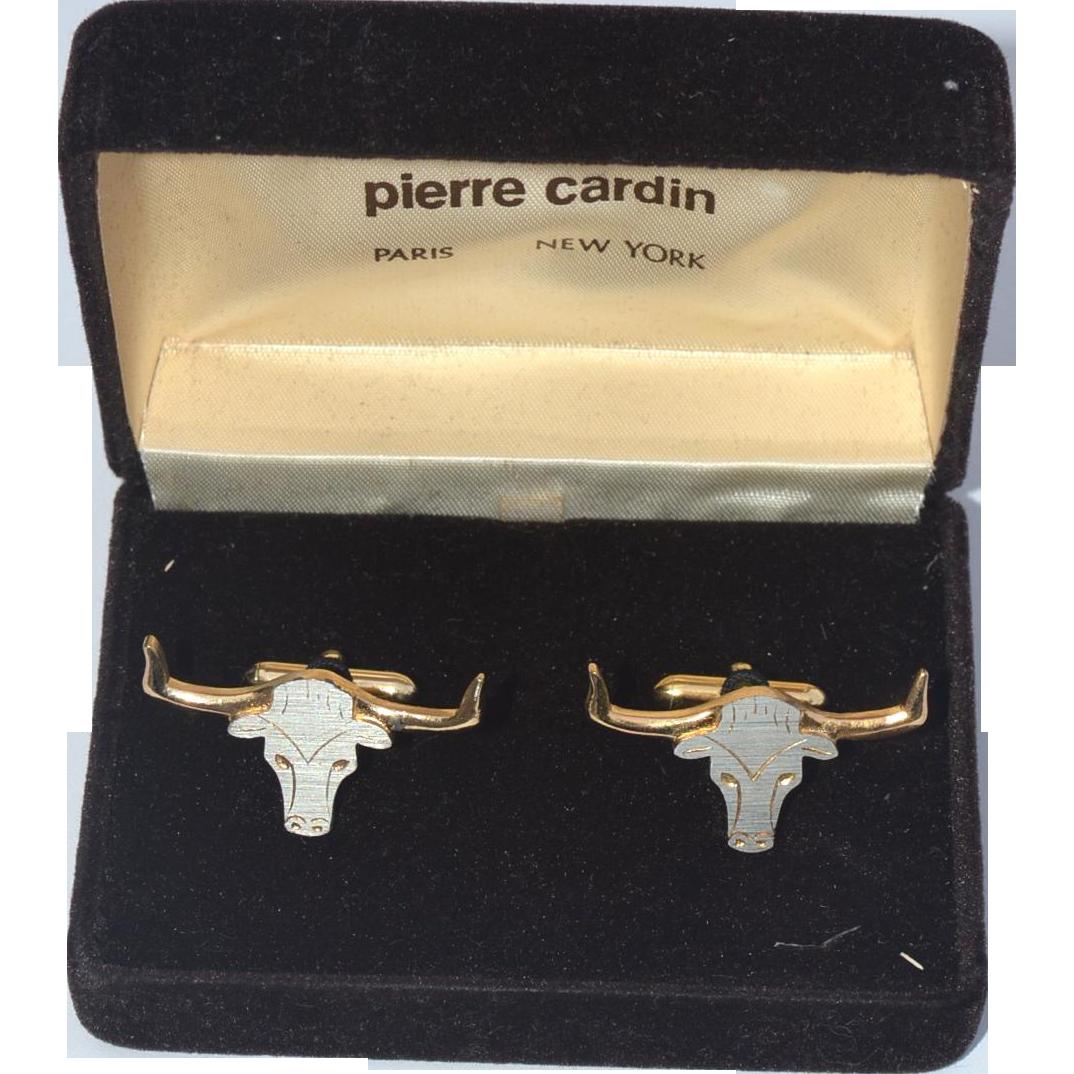 Vintage PIERRE CARDIN Bull Head Cuff Links, Cufflinks, Original Box