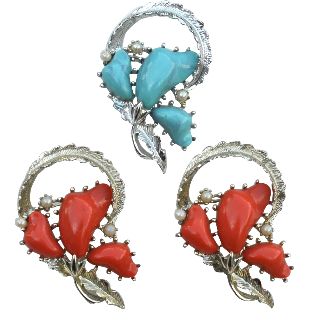 Set of Three Large Signed CORO Pins, Turquoise and Coral Lucite With Faux Pearls