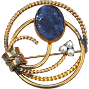 Vintage Hallmarked WINARD 12K Gold Filled Pin With Lapis and Cultured Pearls