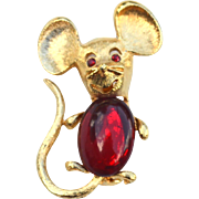 Vintage Signed PARK LANE Red Jelly Belly Mouse Pin