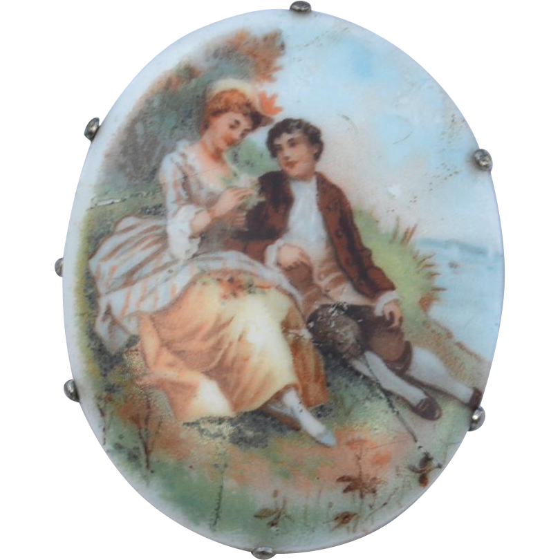 Vintage Porcelain Transfer Courting Couple Pin, Early Clasp