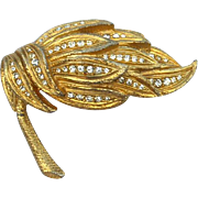 Vintage Signed JUDITH GREEN Gold Tone and Rhinestone Dimensional Pin