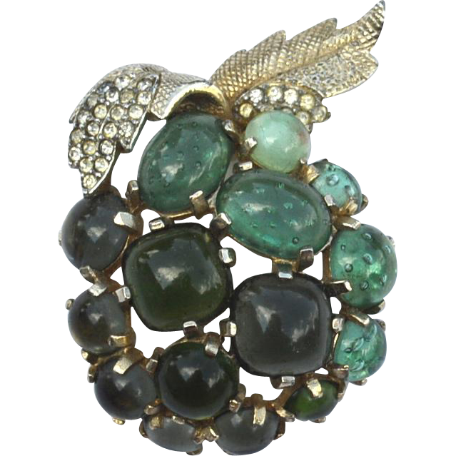 Vintage Signed CASTLECLIFF Shades of Green Glass Cabs Apple Pin