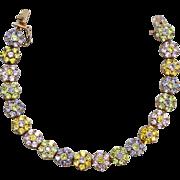 Hallmarked Heavy STERLING SILVER Rhinestone Crystal Bracelet, Vermeil, Pink Purple Yellow