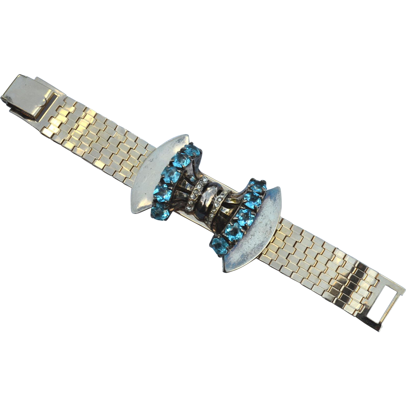 Deco Era, Early Vintage Sceptron 12K Gold Filled Bracelet, Blue Stones, Book Piece