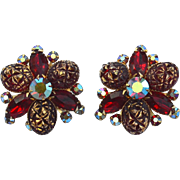 Oversized Signed BEAU JEWELS Red Rhinestone Clip Earrings