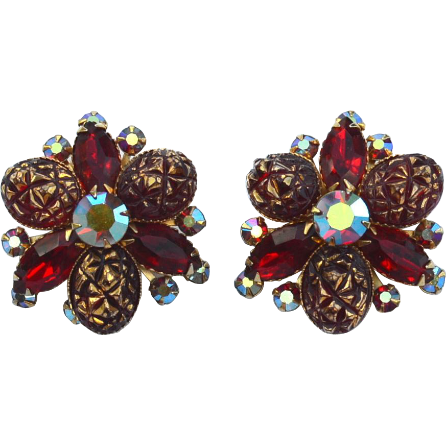 Oversized Signed BEAU JEWELS Red Rhinestone Clip Earrings