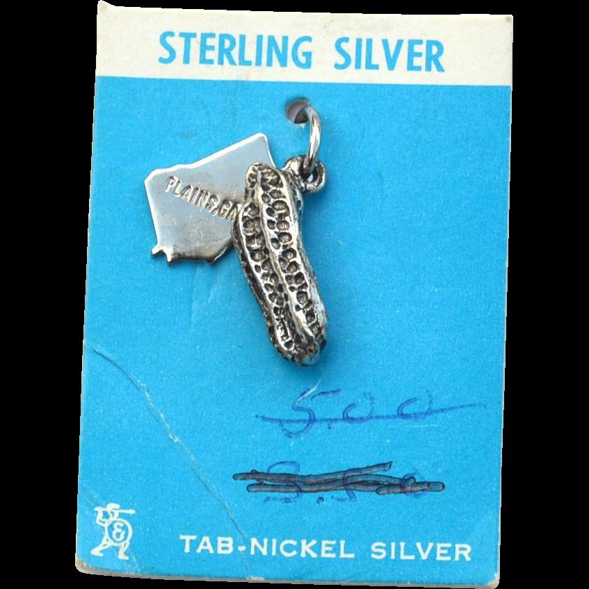 Vintage STERLING SILVER Plains, Georgia Peanut Charm For Bracelet, Original Card