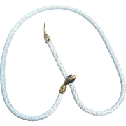 Vintage Mesh Metal Snake Necklace, White Enamel with Sapphire Colored Rhinestone Eyes