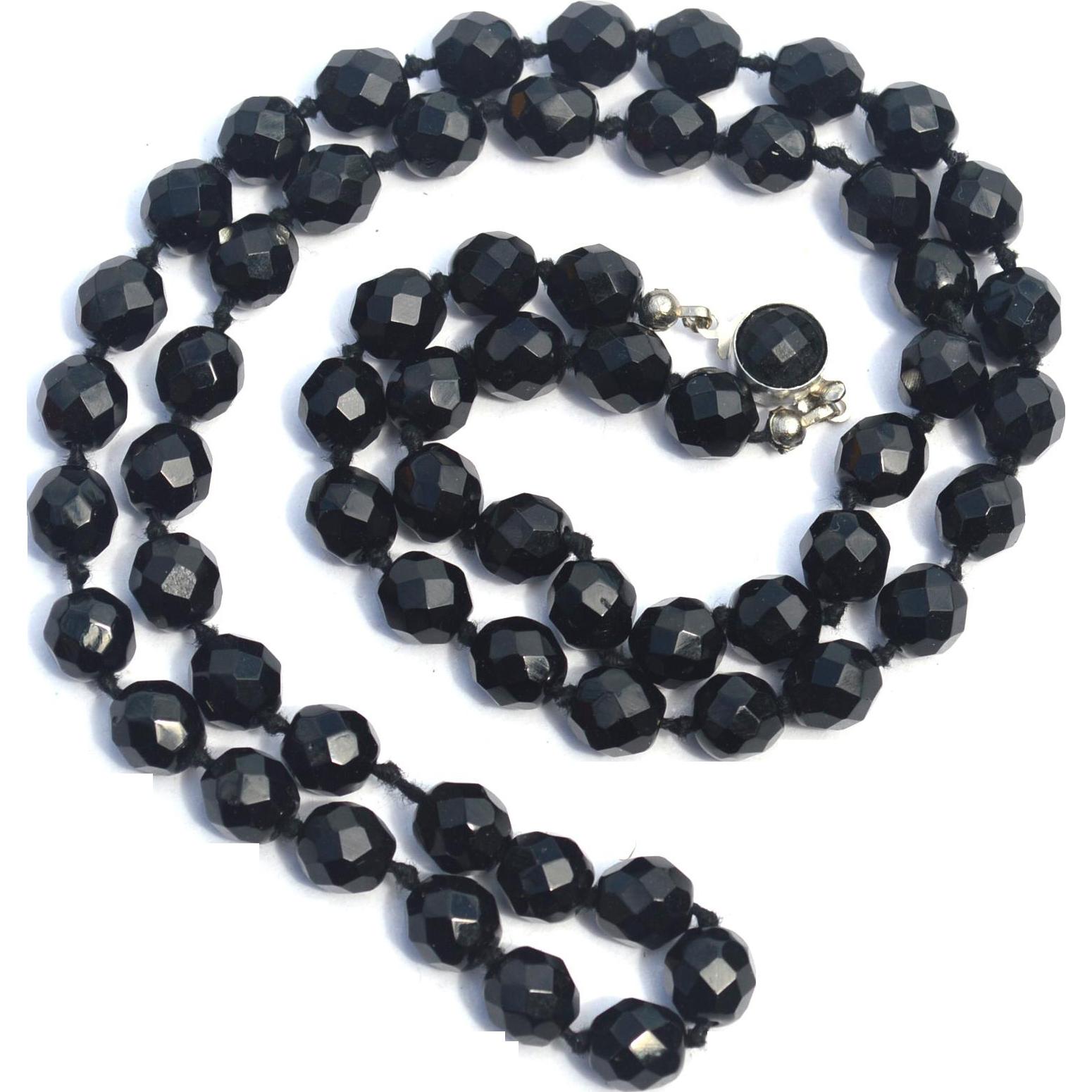 Vintage Signed AUSTRIA Black Crystal Necklace
