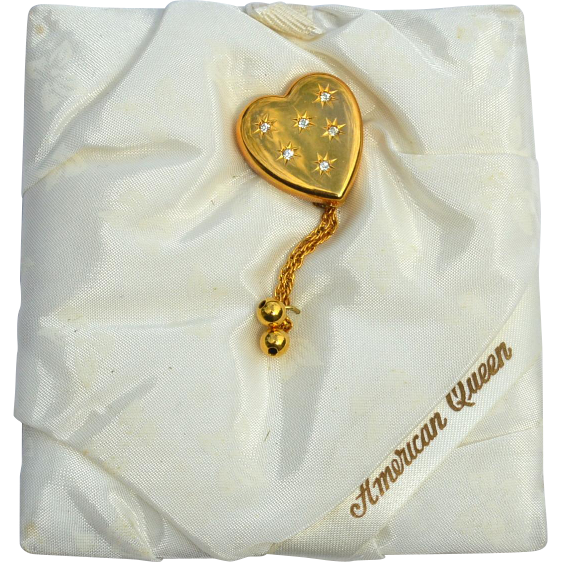 "RARE Pitmann & Keeler ""American Queen"" 12K Gold Filled Sweetheart Heart Shaped Pin, Original Silk Pad"