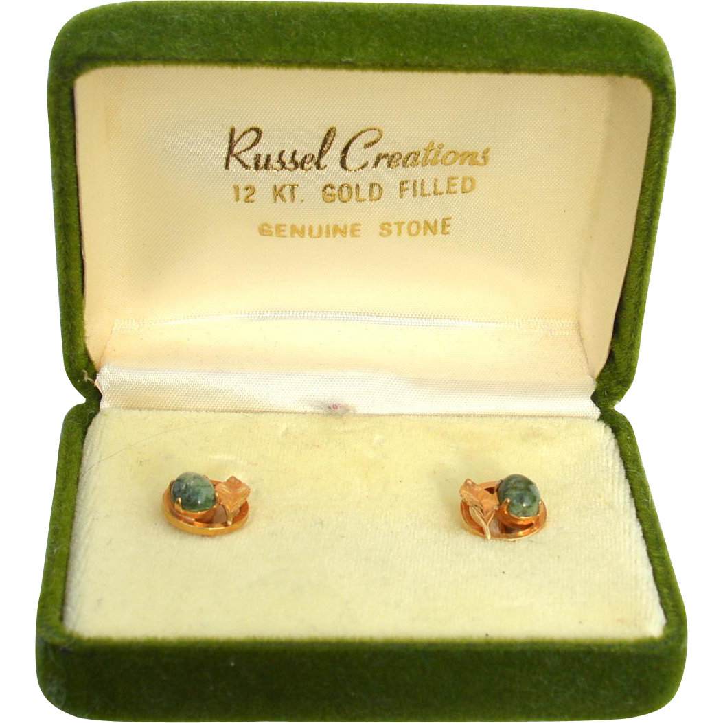 Vintage Hallmarked 12K Gold Filled Earrings With Genuine Jade Stones, Original Box