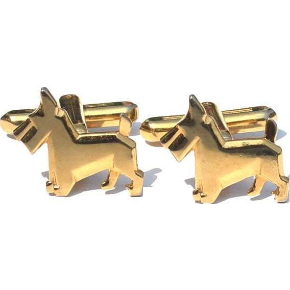 Vintage Signed Hickok Usa SCOTTIE DOG Cuff Links Cufflinks