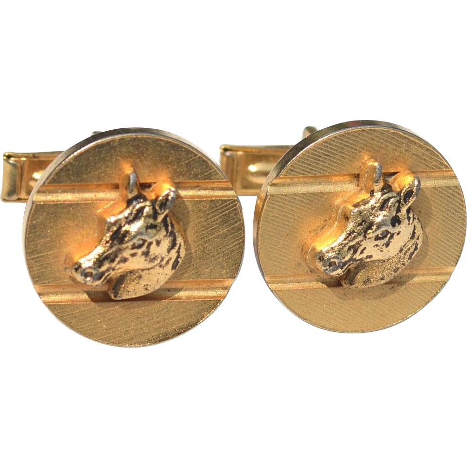 Vintage Gold Toned Horse Head Cuff Links Cufflinks