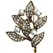 Vintage Signed GOLDETTE Faux Pearl and Rhinestone Pin