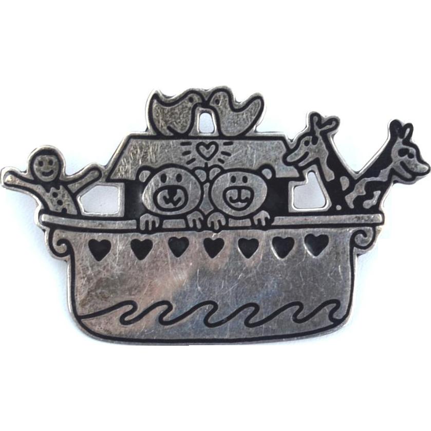 Vintage Hallmarked STERLING SILVER DISNEY Mexico Noah's Ark Pin, Adorable!