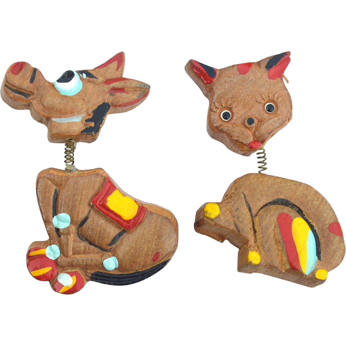 Early Vintage Wooden Trembler Pins, Painted Donkey and Cat