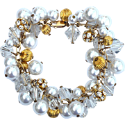 Hallmarked 14K Gold Filled Bead, Faux Pearl, and Crystal Dangling Cha Cha Style Bracelet