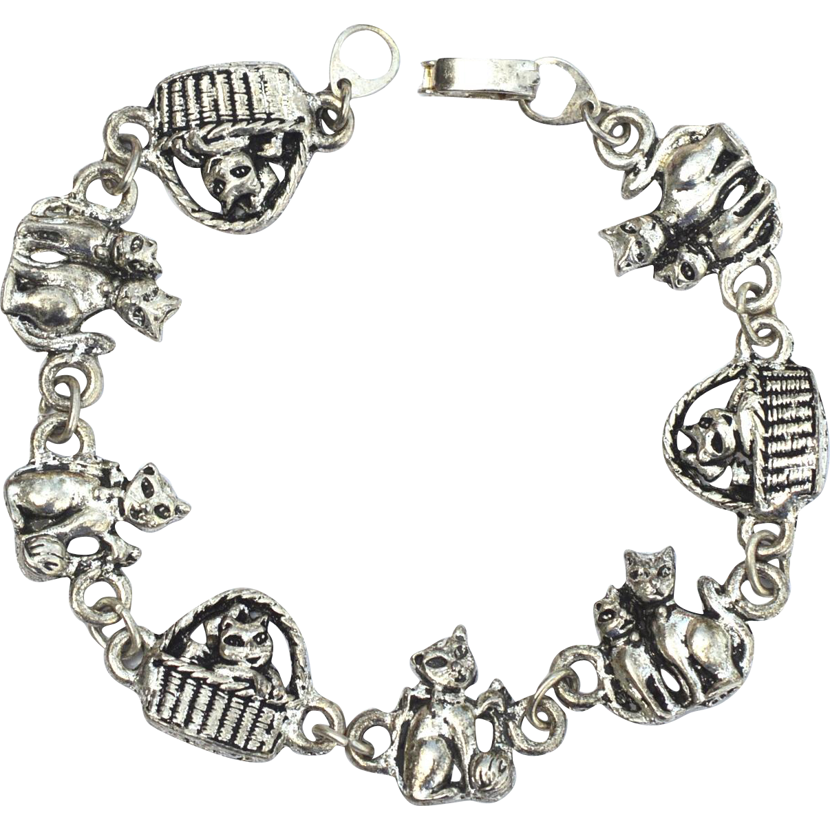 Vintage Silver Toned Kitty Cat Bracelet