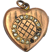 Victorian Era Heart Shaped Gold Filled Photo Locket, JMF & CO