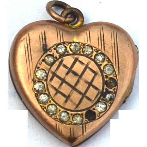Victorian Era Heart Shaped Gold Filled Photo Locket, JMF & CO
