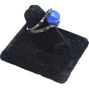 Vintage Hallmarked 835 SILVER Mid Century Modernist Blue Chalcedony Ring