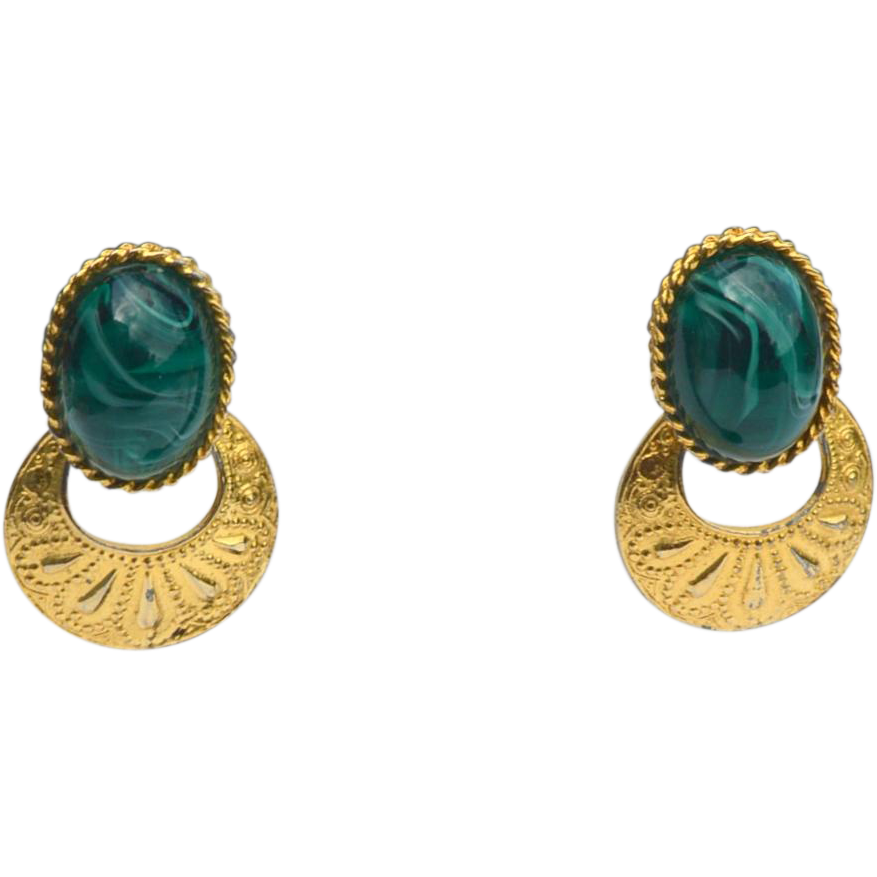 Vintage Signed LES BERNARD Green Art Glass and Gold Tone Metal Door Knocker Clip Earrings