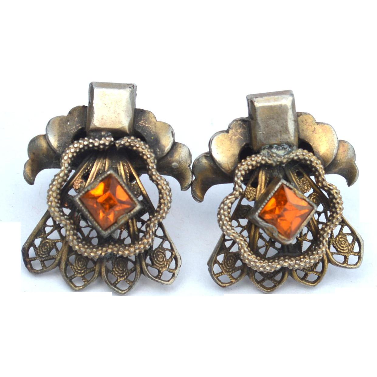 Early Diamond Shape Citrine Colored Rhinestone Paste Earrings, Very Ornate