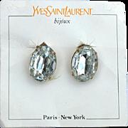 Vintage Signed YVES SAINT LAURENT Oval Headlight Rhinestone Earrings, Original Card