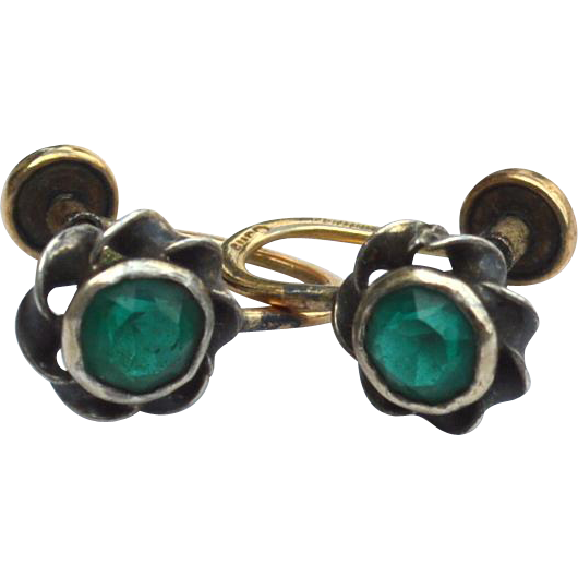 Vintage Hallmarked AMCO 12K Gold Filled Green Stone Earrings