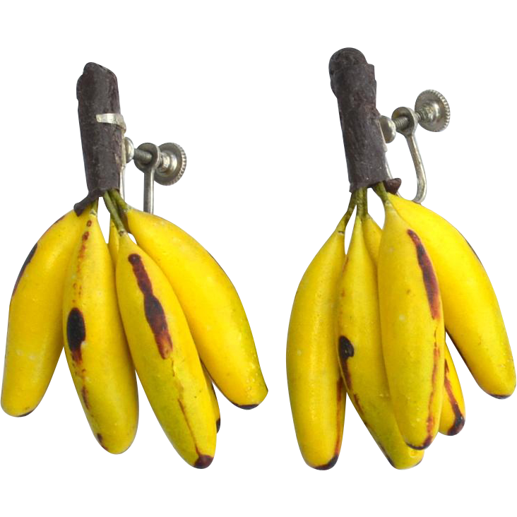 Super Fun Early Vintage Banana Bunch Earrings, Very Realistic
