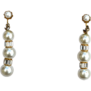 Vintage Signed MIRIAM HASKELL Shoulder Duster Faux Pearl and Rhinestone Earrings