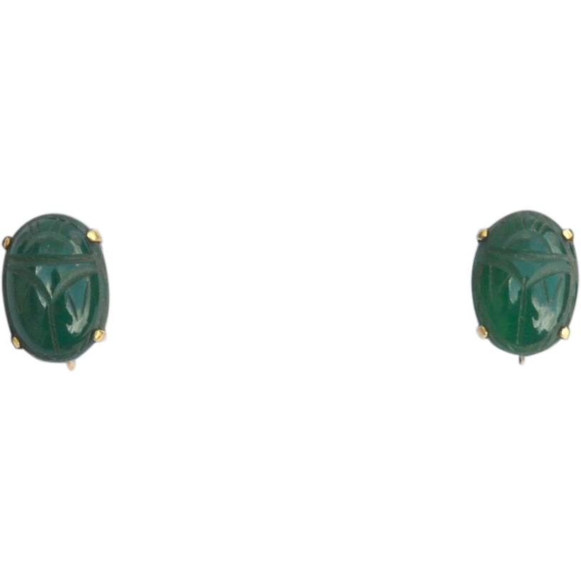 Vintage Hallmarked 12K Gold Filled Earrings With Green Scarab Stones