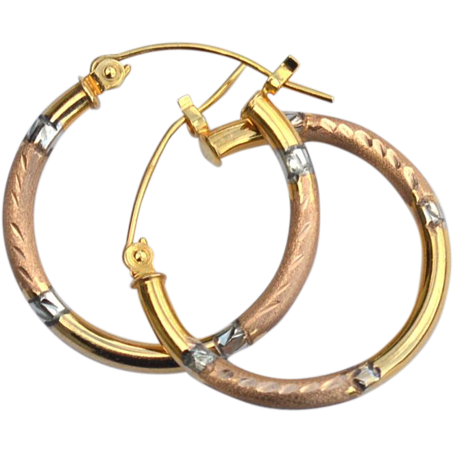 Vintage Hallmarked 10K Hoop Earrings
