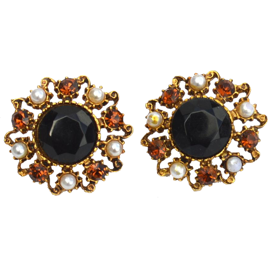 Vintage Signed FLORENZA Citrine Colored and Black Rhinestone Earrings, Faux Pearls