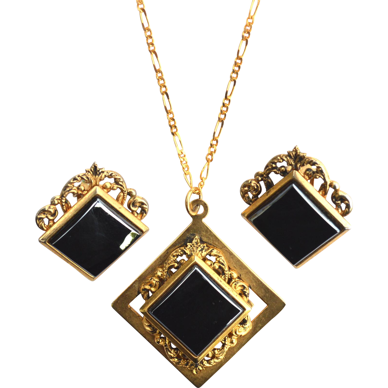 Ornate Vintage Gold Tone and Hematite Stone Demi, Necklace and Earrings