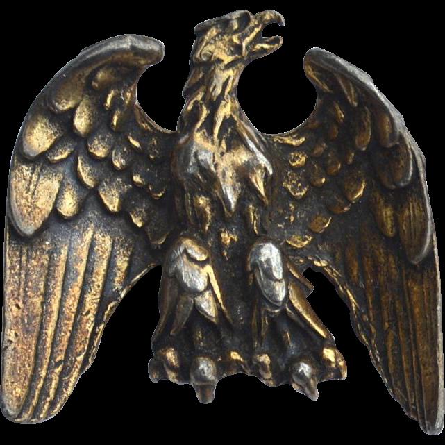 Vintage Antiqued Gold Toned Dimensional Eagle Pin