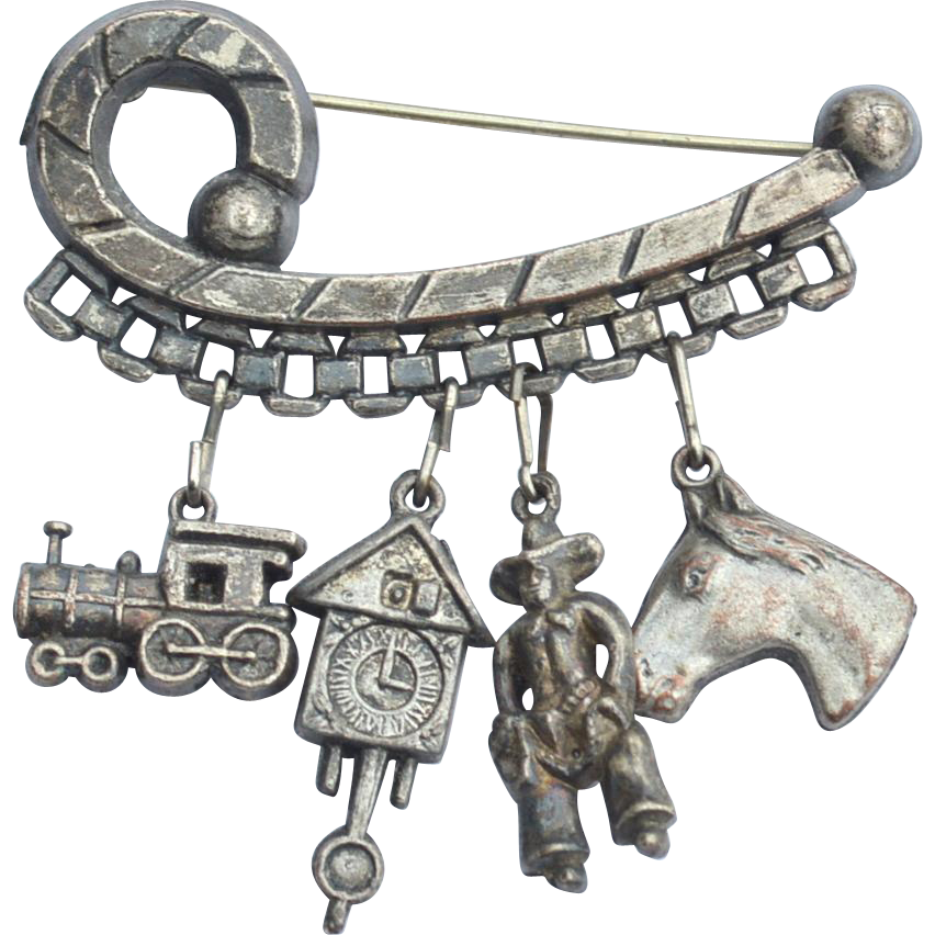Early Silver Toned Charm Pin With Removeable Charms, Train Cuckoo Clock Cowboy and Horse