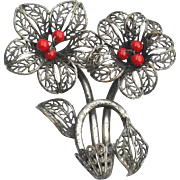 Vintage Silver Plate Flower Pin, Red Glass Bead Center