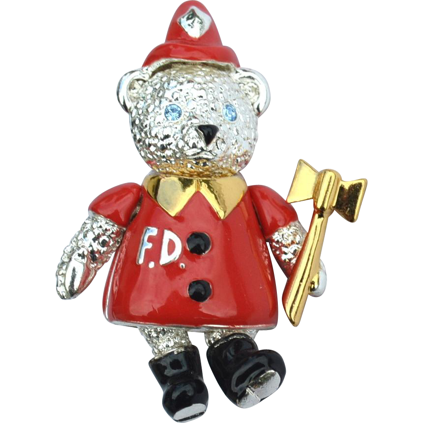 "Vintage Signed MONET ""Fire Department"" Articulated Teddy Bear Pin"